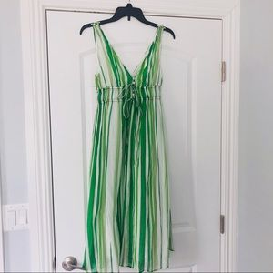 Zara    green striped midi dress
